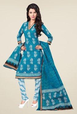 Salwar Studio Blue & White Printed Free Size Dress Material