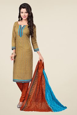 Salwar Studio Mustard & Orange Striped Dress Material