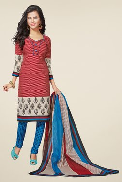 Salwar Studio Red & Blue Printed Regular Wash Dress Material
