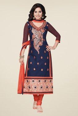 Salwar Studio Navy & Light Orange Embroidered Dress Material
