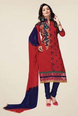 Salwar Studio Red & Dark Blue Lawn & Dress Material