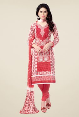 Salwar Studio Pink & White Free Size Dress Material