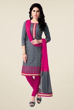 Salwar Studio Grey & Pink Free Size Dress Material