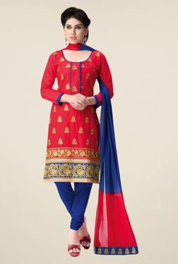 Salwar Studio Red & Blue Embroidered Cotton Dress Material