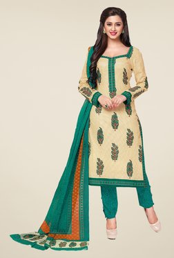 Salwar Studio Cream & Sea Green Printed Dress Material