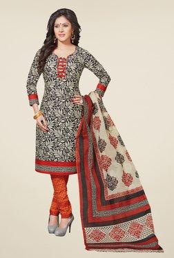 Salwar Studio Black & Red Cotton Free Size Dress Material
