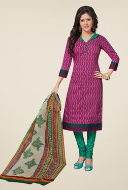 Salwar Studio Pink & Sea Green Printed Dress Material