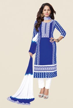 Salwar Studio Blue & White Free Size Dress Material