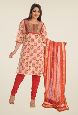 Salwar Studio Beige & Red Cotton Dress Material