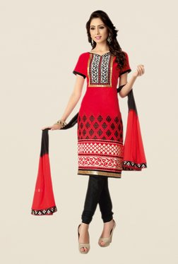Salwar Studio Red & Black Free Size Dress Material