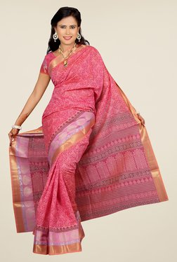 Salwar Studio Pink Floral Print Cotton Saree