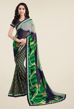Salwar Studio Blue And Green Printed Saree
