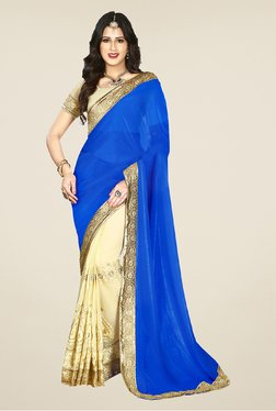 Salwar Studio Blue And Cream Embroidered Saree