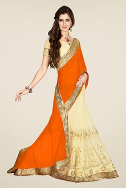 Salwar Studio Orange And Cream Embroidered Saree