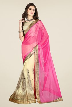 Salwar Studio Pink And Cream Embroidered Saree