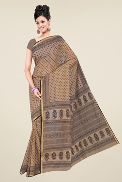 Salwar Studio Beige & Black Gadwal Cotton Printed Saree