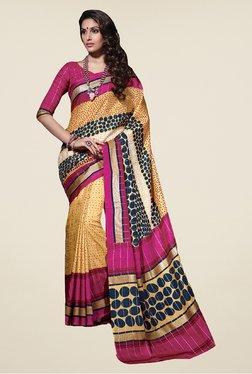 Salwar Studio Yellow & Pink Tussar Silk Printed Saree