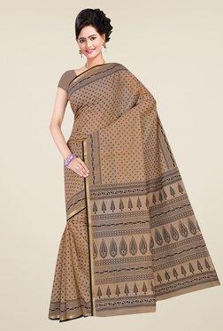 Salwar Studio Beige & Black Floral Print Saree