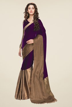 Salwar Studio Wine Cotton Solid Saree With Blouse Piece