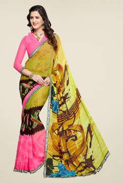 Salwar Studio Pink And Yellow Printed Saree