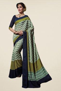 Salwar Studio Green & Blue Tussar Silk Printed Saree