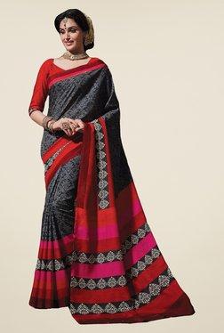 Salwar Studio Grey & Red Floral Print Saree
