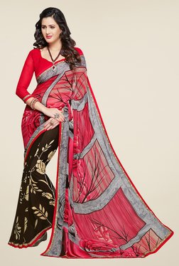 Salwar Studio Coral Pink And Brown Floral Print Saree