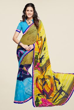 Salwar Studio Yellow And Blue Printed Saree