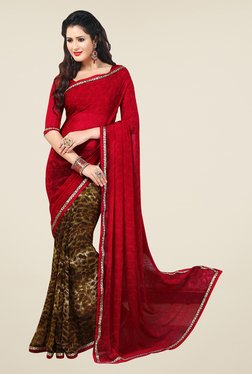 Salwar Studio Red And Brown Paisley Print Saree