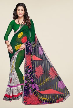 Salwar Studio Green And Navy Blue Printed Saree