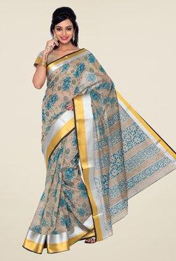 Salwar Studio Beige & Aqua Blue Floral Print Saree