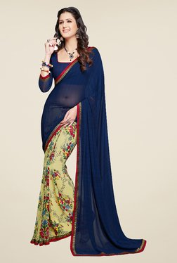 Salwar Studio Navy Blue And Light Yellow Floral Print Saree