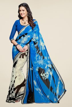 Salwar Studio Blue And Off White Printed Saree