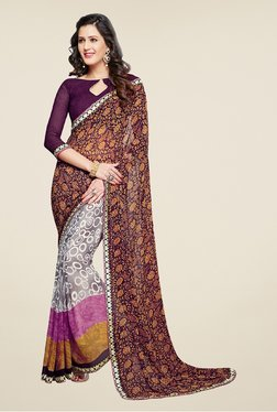 Salwar Studio Wine And Grey Floral Print Saree