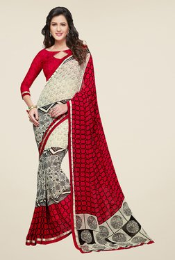 Salwar Studio Red And Off White Printed Saree