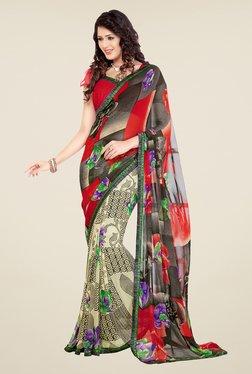 Salwar Studio Red And Grey Printed Saree