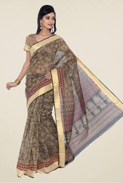 Salwar Studio Grey & Beige Floral Print Saree