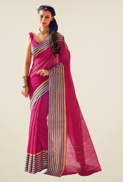 Salwar Studio Pink Cotton Blend Handwoven Saree
