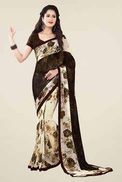 Salwar Studio Dark Brown And Off White Floral Print Saree
