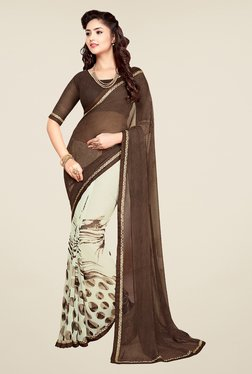 Salwar Studio Coffee Brown And Off White Printed Saree