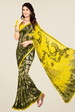 Salwar Studio Yellow And Olive Green Printed Saree