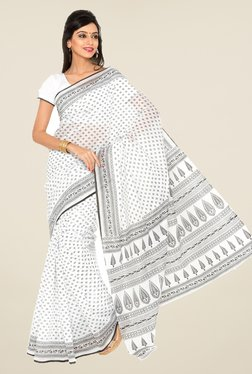 Salwar Studio White And Black Floral Print Saree