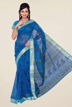 Salwar Studio Royal Blue Floral Print Saree
