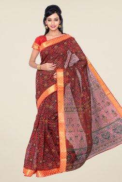 Salwar Studio Orange & Black Floral Print Saree