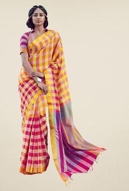 Salwar Studio Yellow & Pink Checks Handwoven Saree