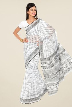 Salwar Studio White And Black Printed Saree
