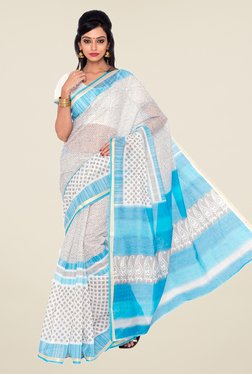 Salwar Studio White And Sky Blue Printed Saree