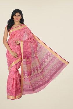 Salwar Studio Pink Floral-printed Saree