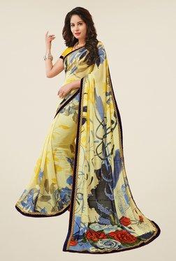 Salwar Studio Light Yellow Floral Print Saree