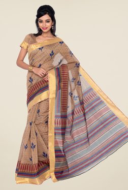 Salwar Studio Beige And Navy Blue Printed Saree